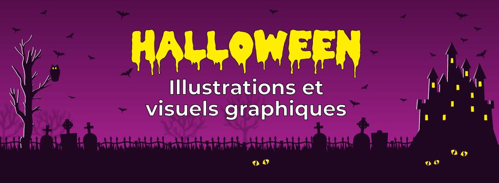 bannière illustration et visuels graphiques halloween